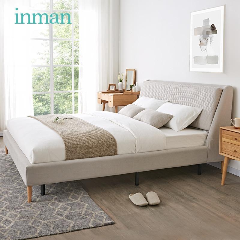 茵曼 现代简约可拆洗软包布艺床1.5米1.8米经济型主卧靠背双人床