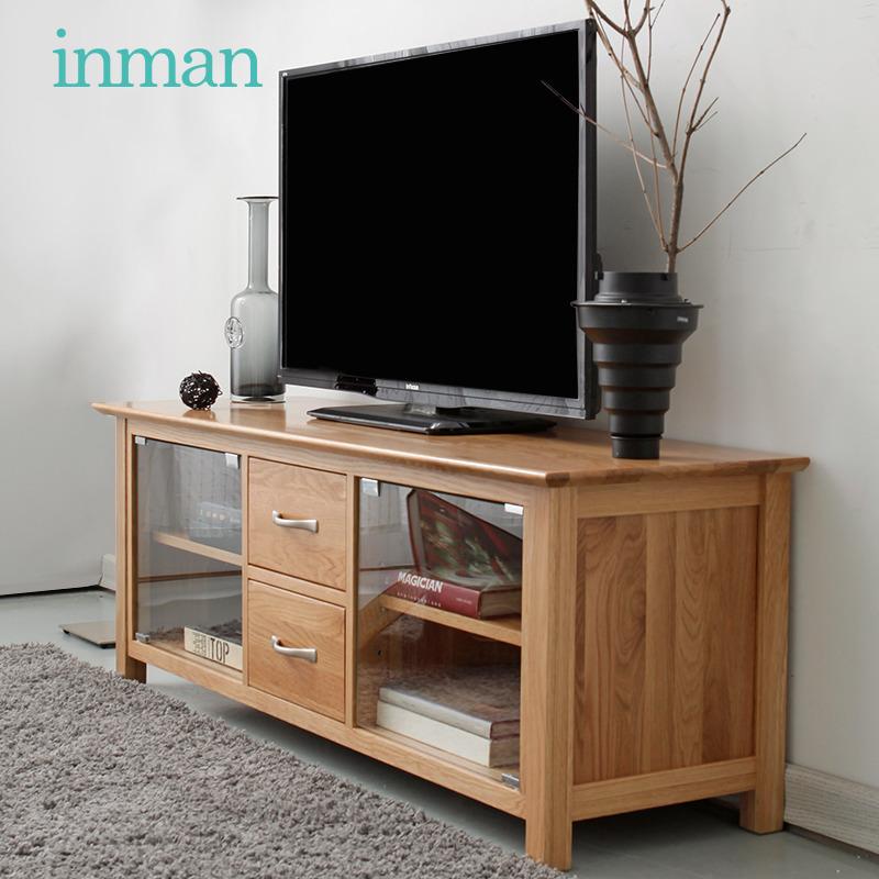 茵曼小户型电视柜实木收纳柜橡木钢化玻璃自动门1.3m储物柜收纳柜