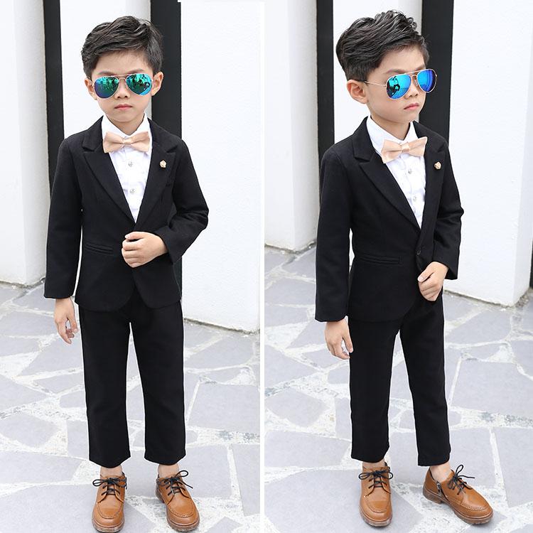男童西装礼服套装英伦风儿童黑色小西服幼儿园主持人走秀服装帅气