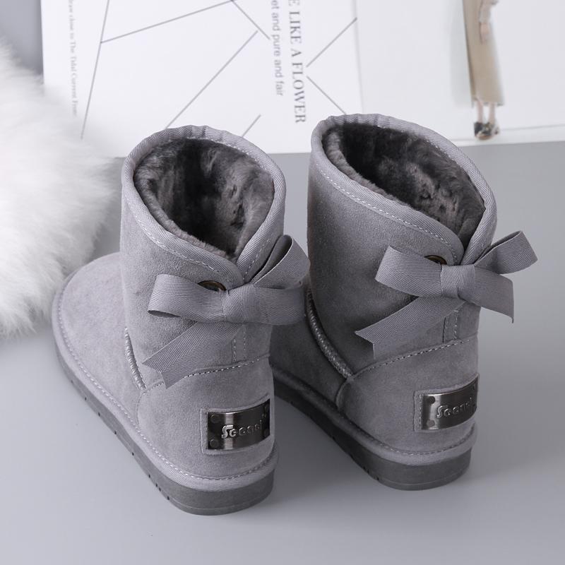 蝴蝶结中筒雪地靴