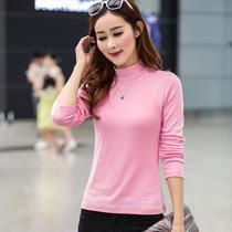 秋季韩版半高领大码女T恤修身上衣服纯色内搭打底衫长袖纯棉体恤