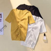 加肥加大码女装新款洋气抽绳短袖上衣 200斤胖妹妹纯色显瘦针织衫