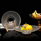Fruit plate glass creative modern living room home European large ktv beads point glass fruit bowl home dried fruit plate