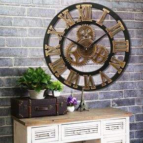 欧式复古理发店工业风装饰客厅挂钟创意齿轮壁挂店铺个性时钟表
