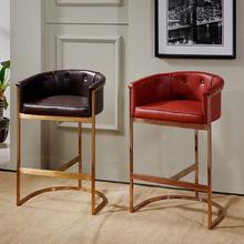 欧式美式酒吧椅现代简约不锈钢铁艺吧台椅子皮艺靠背家用高脚凳