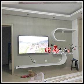 白色钢琴烤漆电视柜弧形挂墙电视柜挂墙柜吊柜艺术客厅视听柜定制
