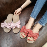 Summer Korean version of breathable thick bottom non-slip men and women couple home hand-made bow indoor linen lace slippers