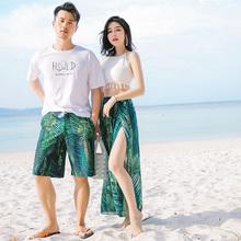 温泉泳装 分体三件套保守遮肚显瘦长裙海边度假情侣款 情侣泳衣套装
