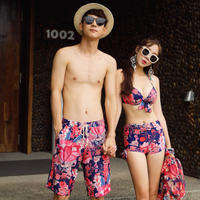2018 Jin Geer couple swimwear flat angle bikini small chest gathered steel plate blouse cover belly Korean hot spring swimsuit