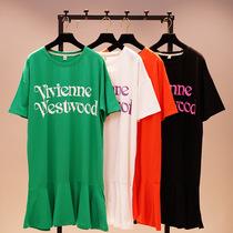 韩国夏季宽松中长款字母短袖T恤女胖mm荷叶边东大门大码体恤裙