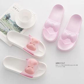a48f6b0278ff74 Korean bow girl heart slippers cute summer shower shoes bathroom slippers  beauty salon special anti-
