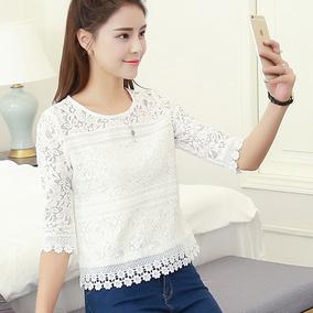 春夏新款七分袖白色蕾丝衫修身打底衫短款镂空百搭蕾丝上衣女T恤