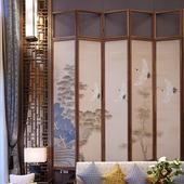 饰折叠简约移动折屏酒店 客厅玄关隔断墙装 定制屏风守静家 样板间