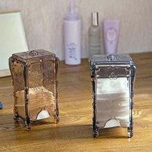 桌面透明化妆棉收纳盒创意塑料盒子简约欧式办公化妆品收纳整理盒