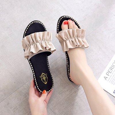 拖鞋女夏外穿平跟2019新款韩版百搭花边一字拖学生凉拖鞋沙滩鞋女