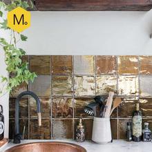 网红复古厨房卫生间浴室金属釉小方砖 咖啡厅艺术手工瓷砖 末末家