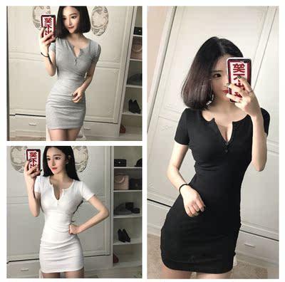 季韩版女装性感夜店胸前开扣显胸螺纹修身包臀短袖打底连衣裙潮X