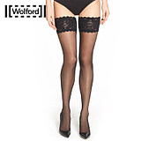 Wolford/Walford Satin20D Luster Silicone Lace Thigh Socks E 21223