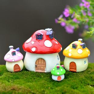 苔藓微景观摄影摆件地中海风格蘑菇房屋树脂造景城堡饰品小号建筑