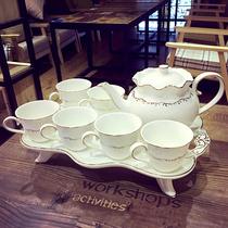 欧式茶具套装带托盘家用客厅咖啡杯小奢华高档英式下午茶咖啡具