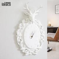 正想 北欧鹿头壁挂墙饰壁饰墙上装饰品 家居客厅餐厅创意挂钟时钟