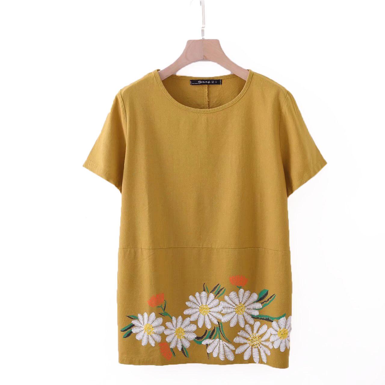 2018胖妈妈装夏装加大码时尚宽松气质中老年装水洗棉麻短袖T恤女