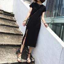 复古圆领气质小黑裙女韩版修身显瘦中长款侧开叉短袖连衣裙打底裙