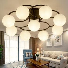 美式乡村客厅吸顶灯现代简约创意个性玻璃卧室房间灯北欧餐厅灯饰