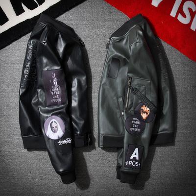 男士皮衣男潮牌修身韩版哈雷帅气皮夹克飞行员青年学生机车外套潮