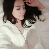 Liu Wei pajamas women spring and autumn silk sexy bathrobe embroidered long section home clothes plus velvet nightgown nightdress two-piece