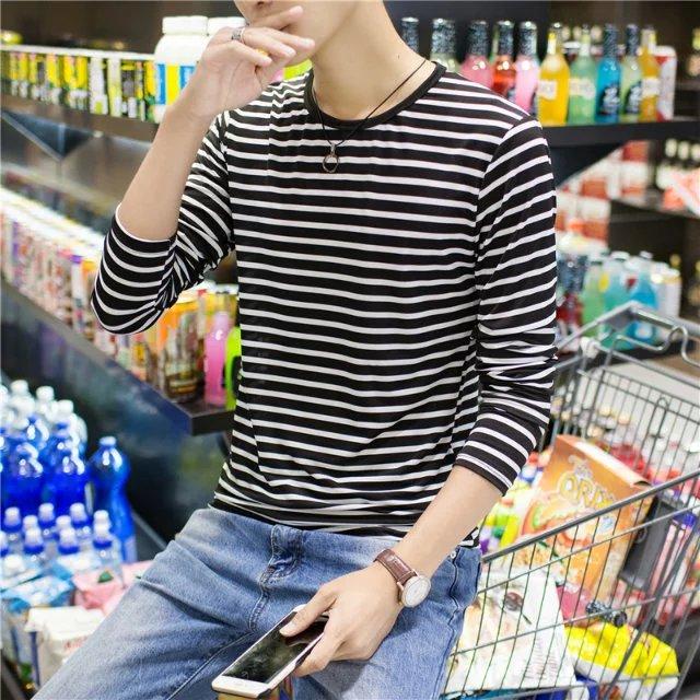 上班干活穿便宜秋衣服打底衫 包邮 T恤韩版 秋季男装 修身 长袖 9.9元