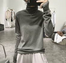 High-collar knitted sweater for ladies in autumn and winter
