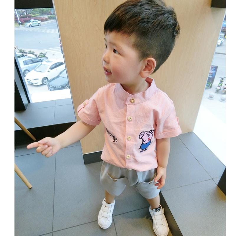 小童男童立领短袖白衬衫儿童装夏装季男宝宝1-2-3岁潮小孩白衬衣