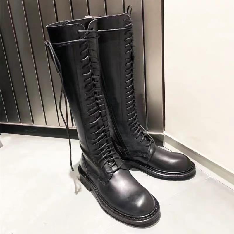 ANN长靴秋冬新款欧美粗跟平底高筒百搭系带骑士靴长筒军靴马丁靴