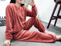 Winter new thick flannel coral fleece warm suit fairy warm pants casual home two-piece suit tide