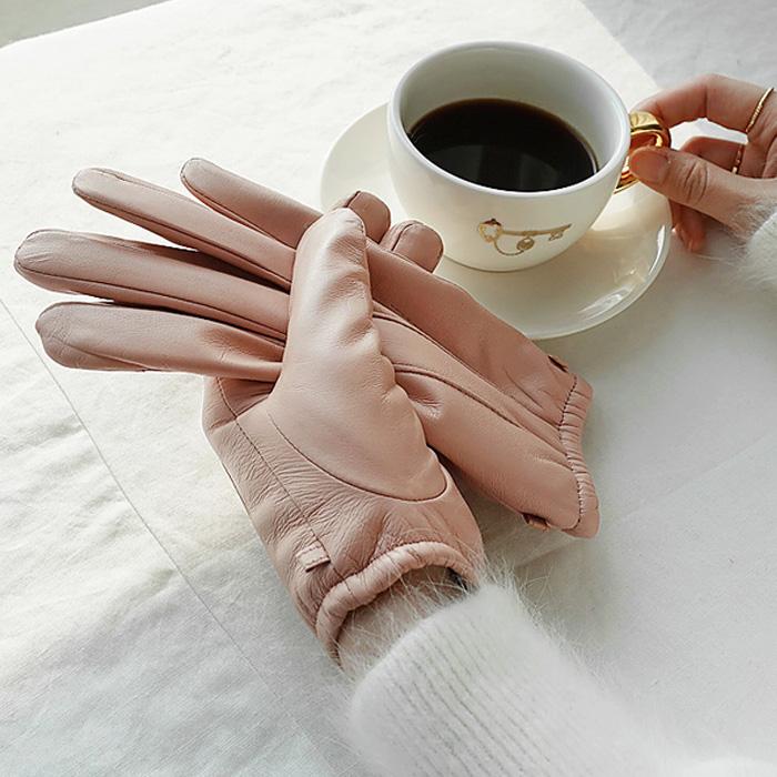 包邮韩国代购官网春装女装naning9正品纯色心形触屏皮五指手套