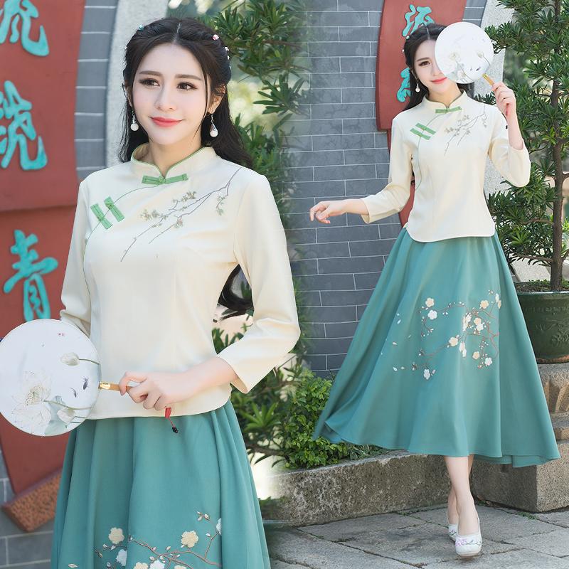 Tea suit female cotton and linen suit dress literary Zen Zen tea artist costume spring and autumn long