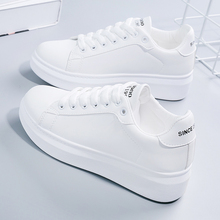 Korean women's small white shoes in spring and summer 2019 new 100-set leather white shoes women's Korean version board shoes thick sole sports leisure shoes