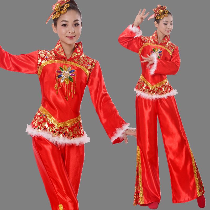 女成人腰鼓舞扇子舞民族舞蹈表演服 中老年2017秧歌服演出服装 新款