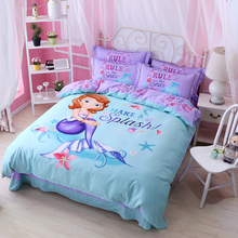 All-cotton cartoon Quilt Set for children, three sets of mermaid, girl meal, Princess cotton sheets, four sets of bedding