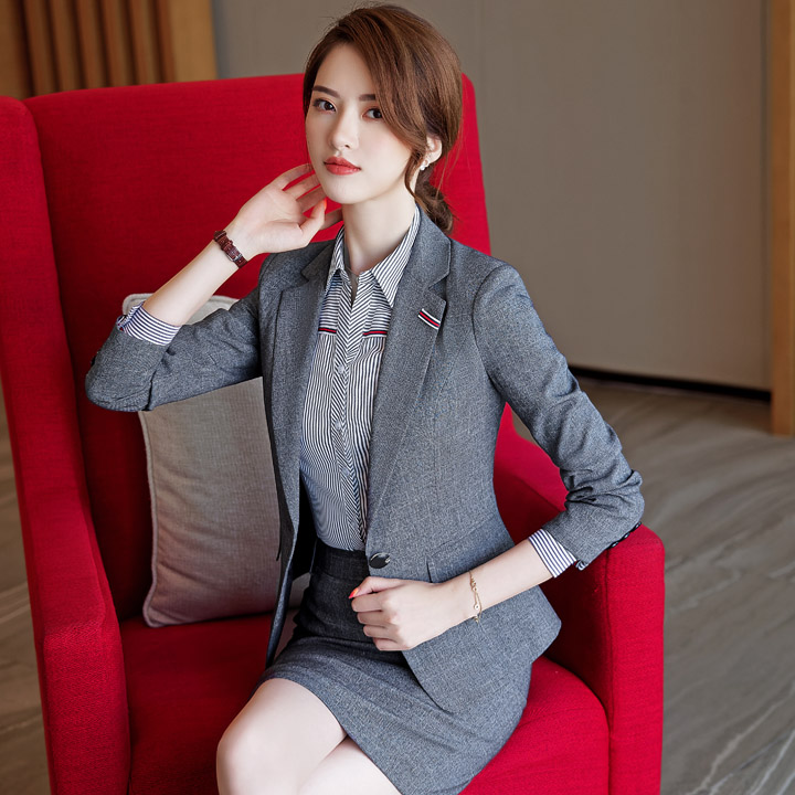 Autumn gray business wear women's suit fashion casual suit suit female office for sale