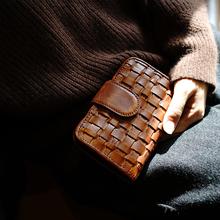 MISSDEER定制头层牛皮手工编织复古钱包女短款多卡位真皮钱夹