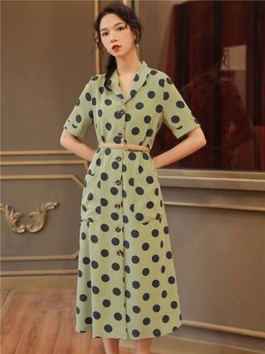 赫本复古裙高腰显瘦气质牛油果绿连衣裙小清新波点绿色仙女雪纺裙