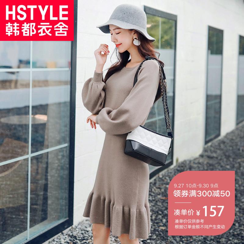 纯色泡泡袖连衣裙