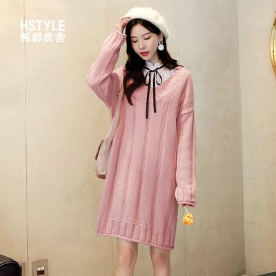 韩都衣舍2018冬装新款韩版女装V领显瘦针织长袖连衣裙女OR8664槿