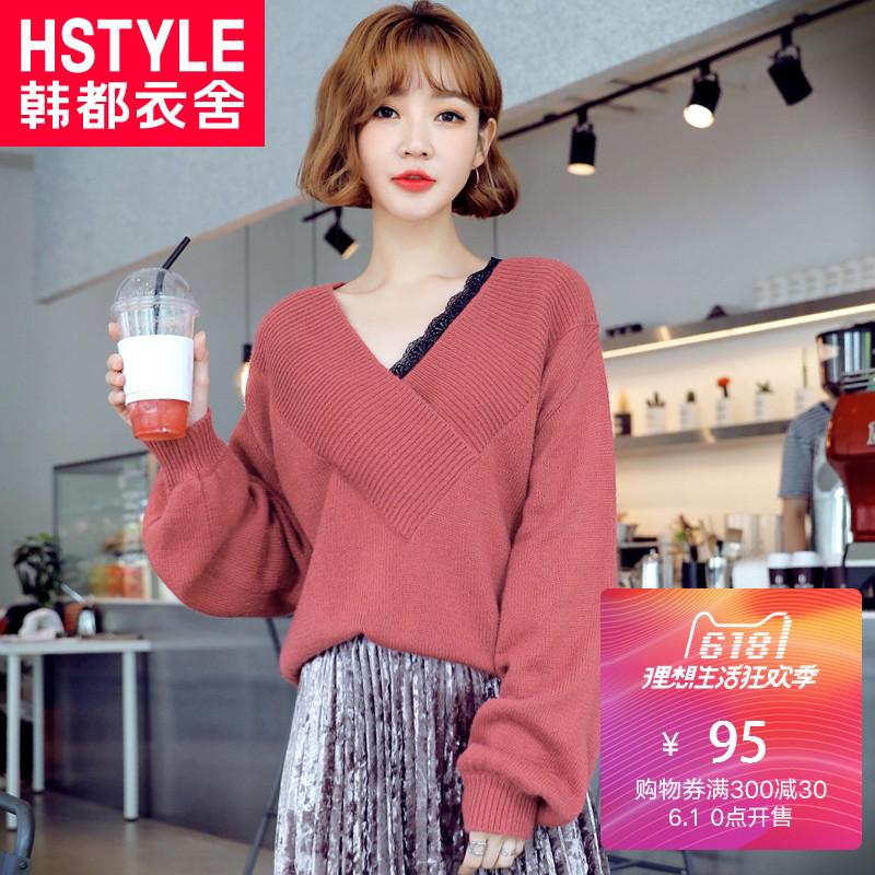韩都衣舍18韩版女春装新款V领灯笼袖蕾丝拼接针织衫毛衣HO8614魭