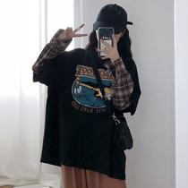 韩版宽松印花T恤拼接假两件打底衫秋季新款学生休闲长袖上衣女装