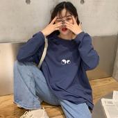 宽松上衣设计感小众港风女装 chic长袖 T恤女ins潮 秋季2019新款 韩版图片