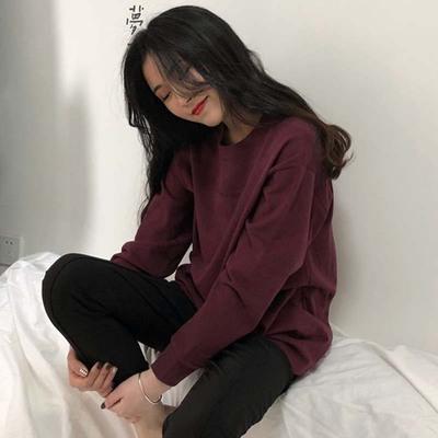 2019春装新款韩版chic显瘦宽松套头字母印花长袖T恤上衣女装学生