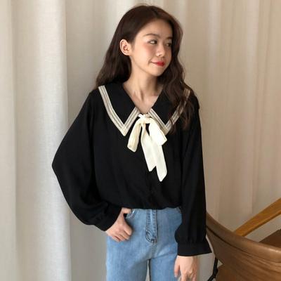 2018秋季撞色娃娃领蝴蝶结绑带衬衫学生韩版新款长袖宽松上衣女装